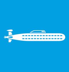 Submarine icon white vector