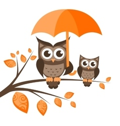 Two owls on the tree with umbrella vector