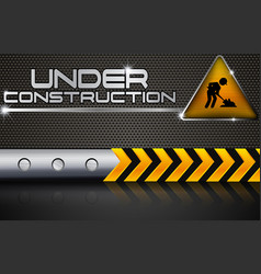 under construction with road sign vector image