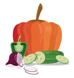 Vegetables organic healthy food salad vector
