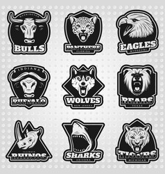 Vintage team sport logos collection vector