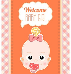 Welcome baby girl card vector
