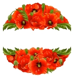 circle frame with red poppies vector image