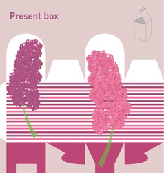 Present box with hyacinth vector image