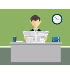 Businessman reading newspaper in office vector