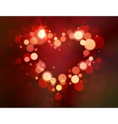 Shiny heart bokeh light valentines day vector