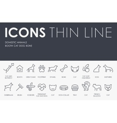 Domestic animals thin line icons vector