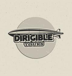 Vintage airship logo design retro dirigible badge vector