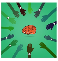 Creative brain idea concept with businessman hands vector