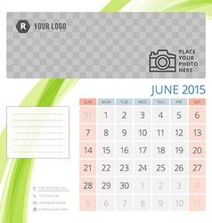 Calendar 2015 june template with place for photo vector