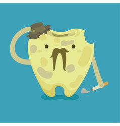 Old tooth with cigarette and old hat vector