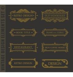 Calligraphic design elements baroque set vector image
