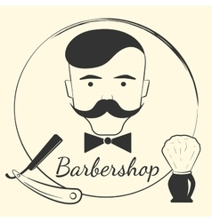 Barber with barber tools vector