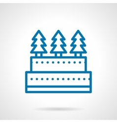 Simple line xmas cake icon vector