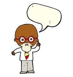 Cartoon professor with speech bubble vector