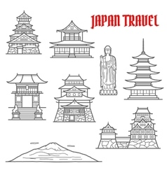 Japan travel landmarks thin line icons vector
