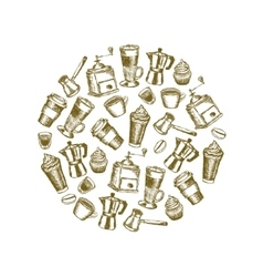 Doodle coffee images in circle vector