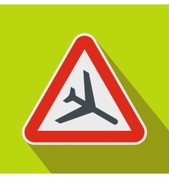 Warning sign of low flying aircraft icon vector