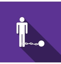 Prisoner with ball on chain icon with long shadow vector