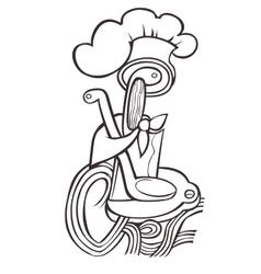 Drawn black hat chef cook on white background in vector image