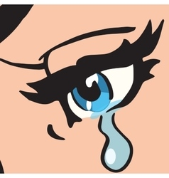 Close-up blue eyes a woman crying vector