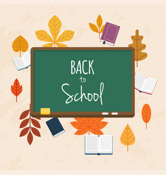 Back to school with books and autumn leafs on vector
