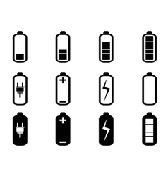 Black battery icons set vector