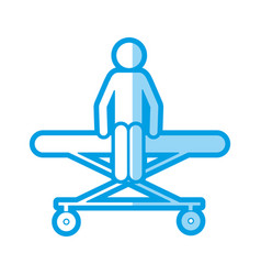 Blue shading silhouette with pictogram patient sit vector