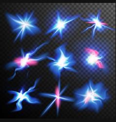blue stars bursts glow light effect magic vector image