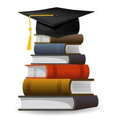 Books with the graduation cap vector image
