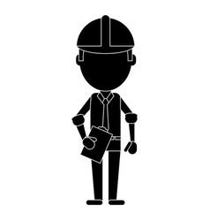 Business man construction clipboard helmet vector