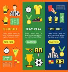 cartoon soccer sport game banner vecrtical set vector image vector image