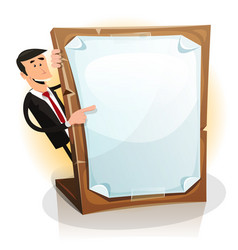 cartoon white businessman holding a paperboard vector image vector image