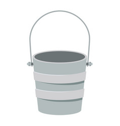 Colorful silhouette metallic bucket container vector