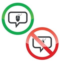 Computer mouse message permission signs vector image vector image