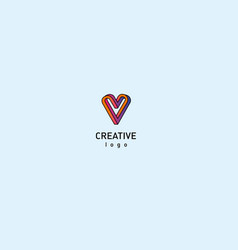 contour modern logo of the heart vector image vector image