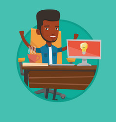 Creative excited businessman having business idea vector
