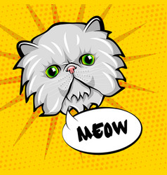 cute cat head pop art isolated on yellow vector image vector image