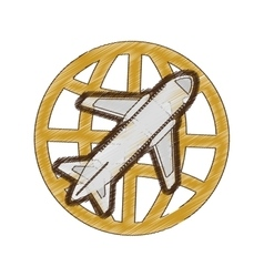 drawing airplane global travel business vacation vector image