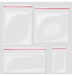 Empty Transparent Plastic Pocket Bags Blank vector image