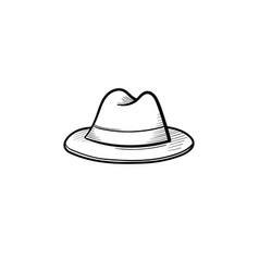 Fedora hat hand drawn sketch icon vector