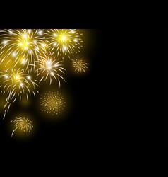 gold fireworks design on black background vector image