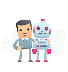 Man and the robot best friends vector