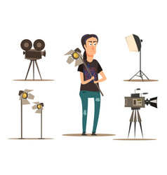 movie making group set vector image vector image