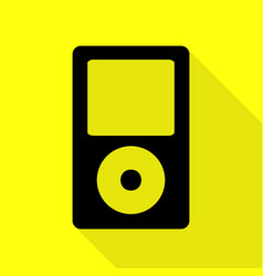 Portable music device black icon with flat style vector