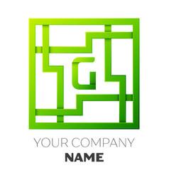 Realistic letter g symbol in colorful square maze vector