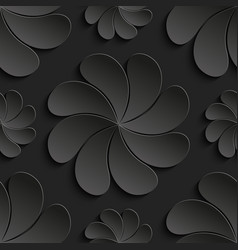 Seamless pattern black 3d paper flower circle 3d vector