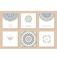 Set of six cards with ethnic design vector image
