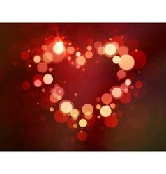 Shiny heart bokeh light valentines day vector