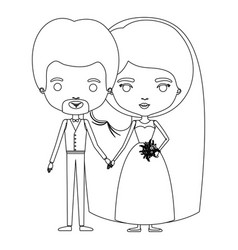 Silhouette caricature newly married couple in vector